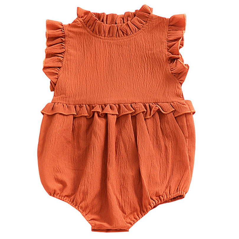 0-3years New Babys Cotton Linen   Romper   Summer Ruffles Sleeveless Baby Jumpsuit Toddler Bobo Bebe Kids Children Clothes Infants