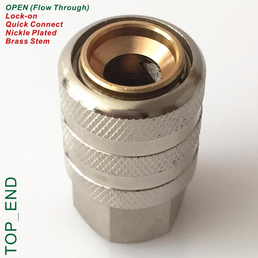 Open End (Flow Through),Nickle Plated Brass,Air Chuck,1/4