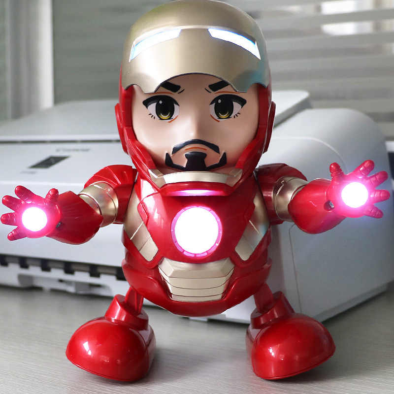 Marvel Avengers End Game Can Dance Super Heroes Iron Man Led Flashlight With Light Sound Music Dance Robot Hero Electronic Toys