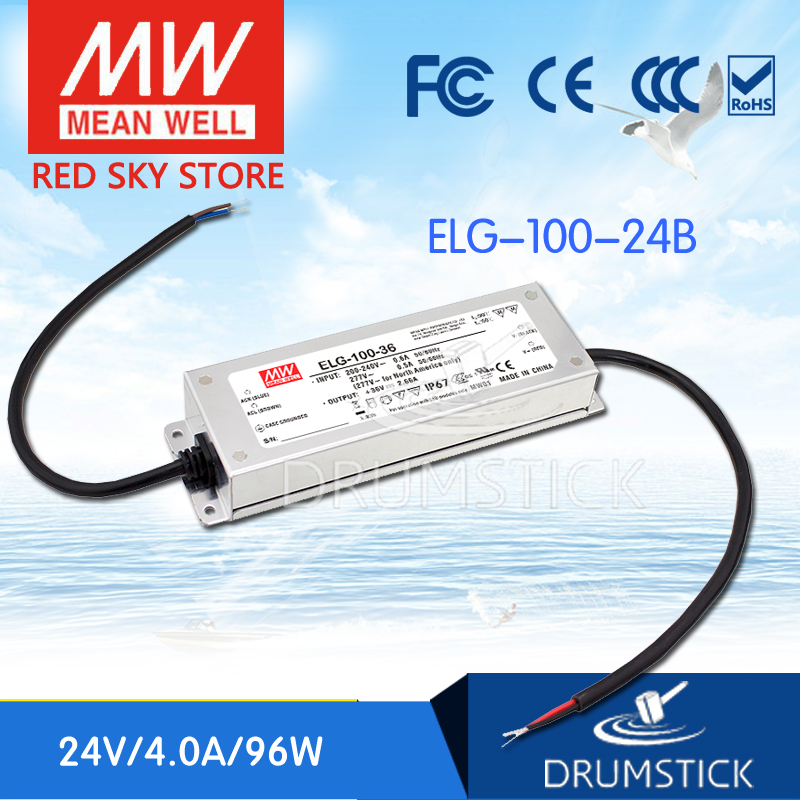 MEAN WELL ELG-100-24B 24V 4A meanwell ELG-100 24V 96W Single Output LED Driver Power Supply B type [Real6] 3mean well original elg 100 c500d 210v 500ma meanwell elg 100 210v 100w single output led driver power supply d type
