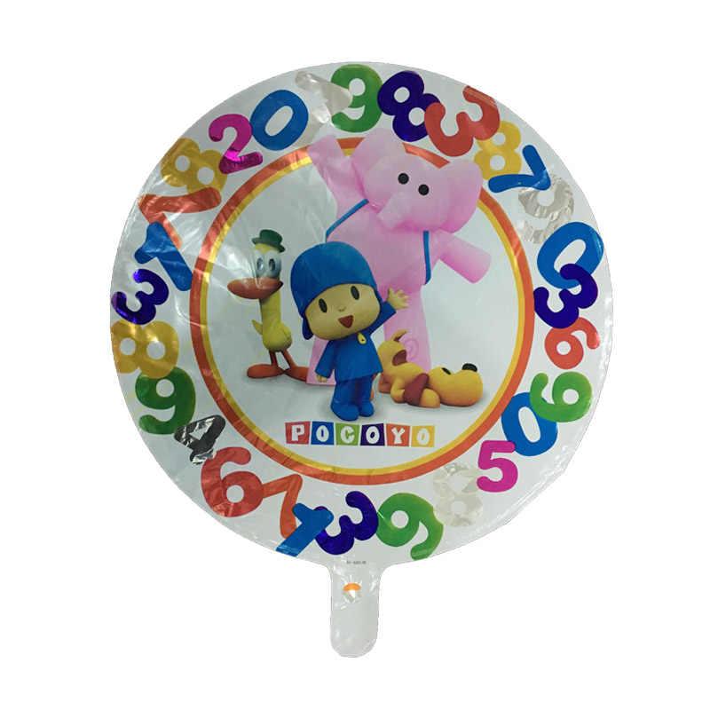 5 pc 18 Polegadas Balões Foil Balões da Festa de Aniversário Feliz Dos Desenhos Animados Pocoyo Pocoyo Crianças Menino do Balão de Ar Balão de Hélio Brinquedos 45 cm
