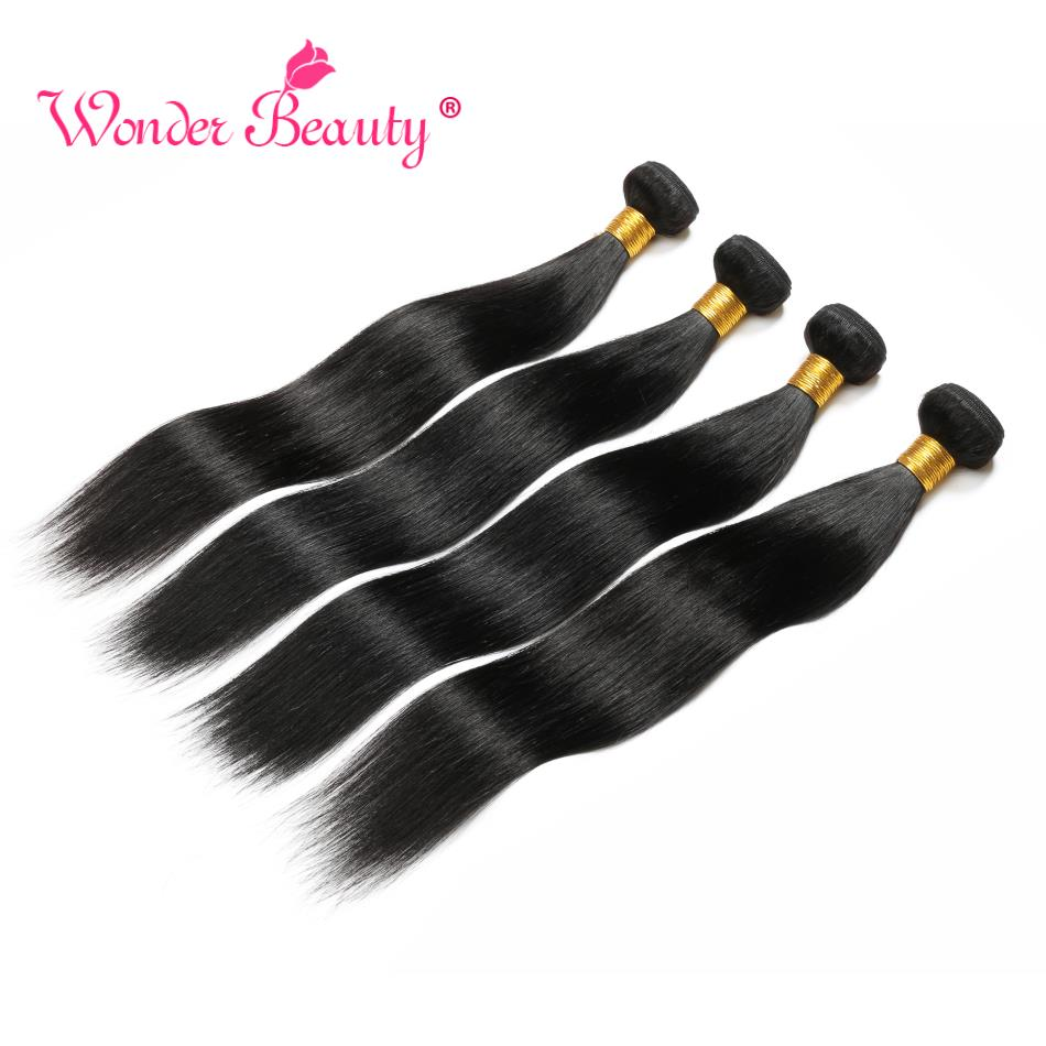 Straight Hair Bundles Wonder Beauty Peuvian Hair Bundles 4Pcs/Lots 100% Human Hair Bundles 8-30inches Non Remy Hair Extension
