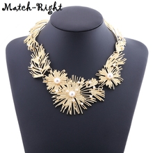 Women's Statement Necklace with Simulated Pearls for Women Gold Color Necklaces $ Pendants New Arrival Jewelry for Party SP411