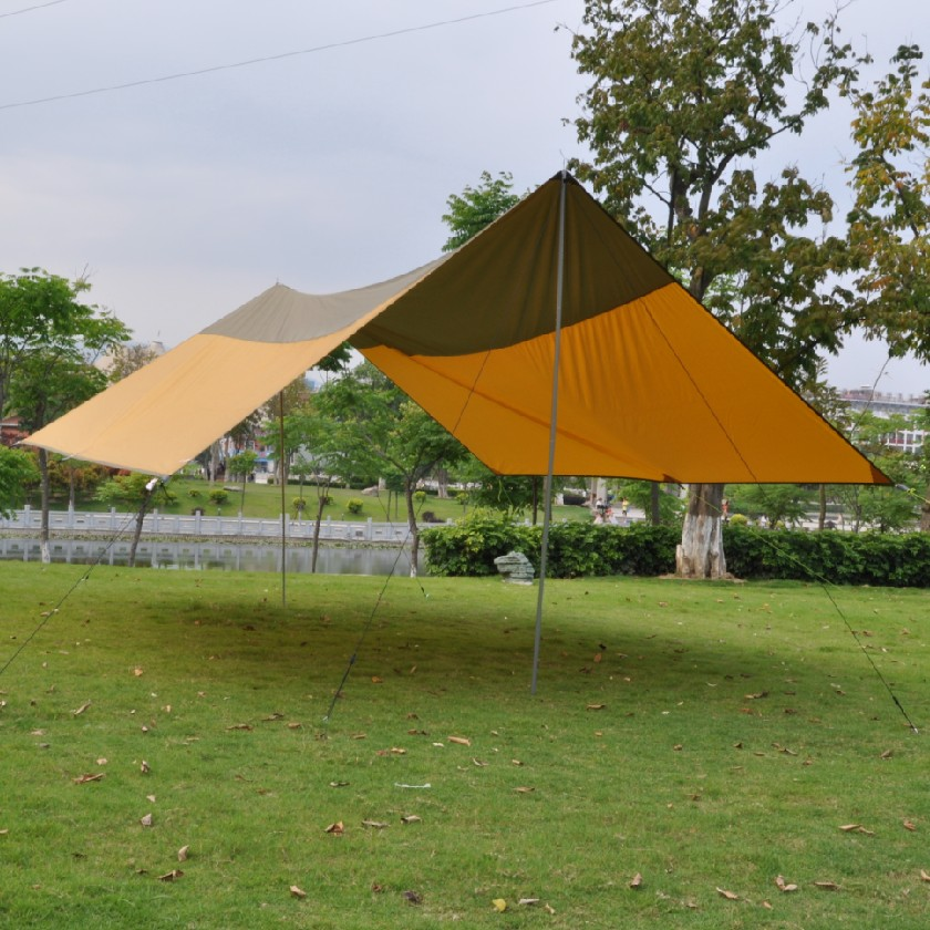 Outdoor Camping Tarp Tent Shelter Super Large Beach Picnic Garden Event Sun  Shade Canopy Awning With Stand And Rope
