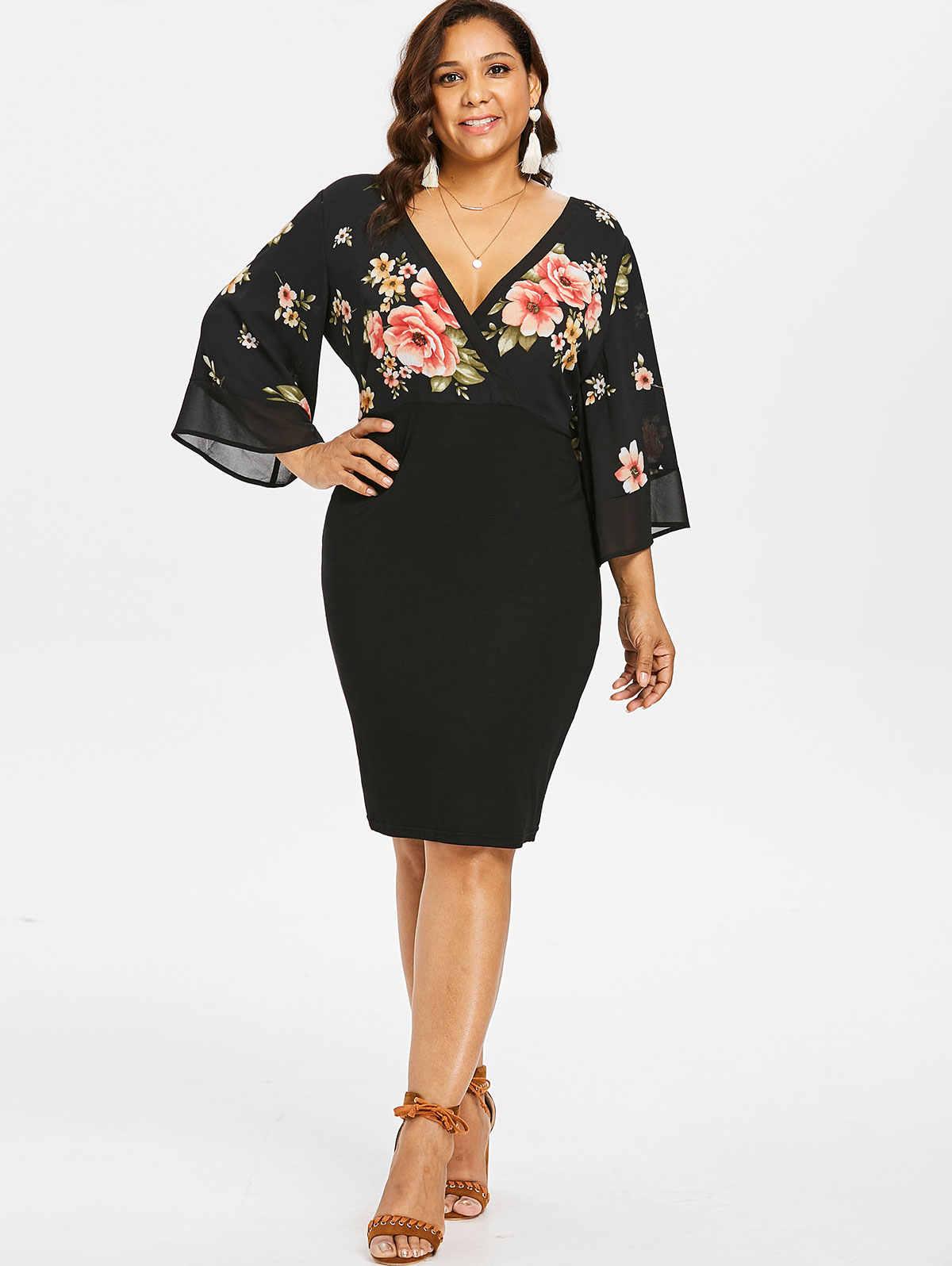 Wipalo  Женское облегающее вечернее коктельное платье большого размера с глубоким декольте с широкими рукавами колокол и цветочным принтом 5XL