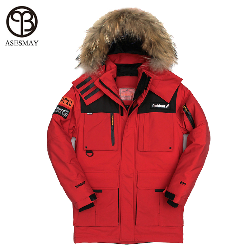 Asesmay 2017 winter High Quality duck down jacket men coat parkas male Western Warm Clothes Natural Raccoon fur collar PLUS-SIZE