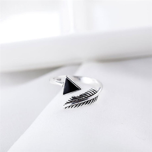 Женские кольца в стиле ретро, геометрические треугольные кольца из тайского серебра и пера, с изменяемым размером и памятью, SRI349