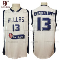 2017 BONJEAN Mens Cheap Throwback Basketball Jersey Hellas Giannis Antetokounmpo 13 Greece White Stitched Retro Shirts