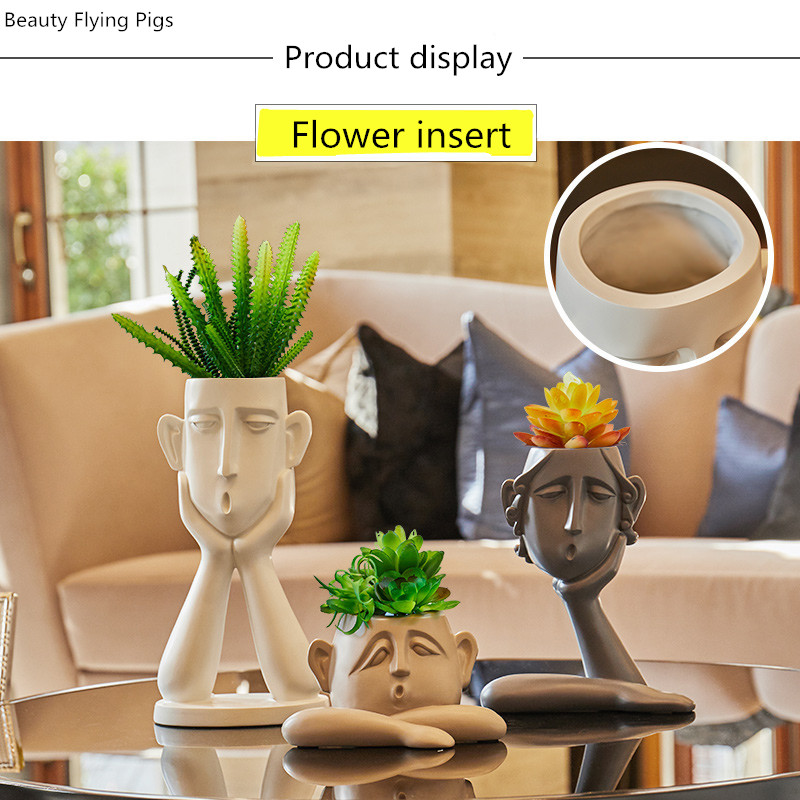 Modern minimalist abstract figure decoration personality creative Nordic style home decorations vase flower storage box gift