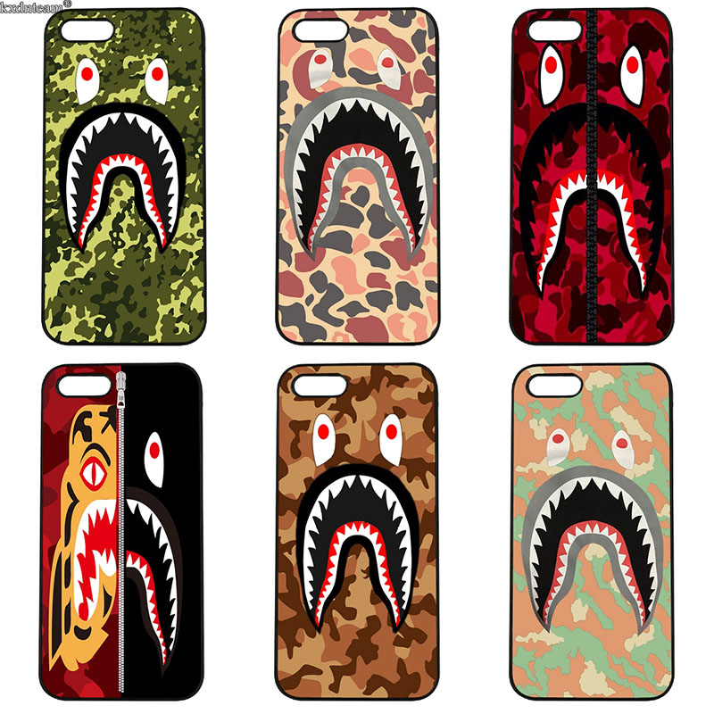 Hard PC Anti-knock Cover Animals Tiger Shark Camo for iphone 8 7 6 6S Plus X 5S 5C 5 SE 4 4S iPod Touch 4 5 6 Shell Phone Cases