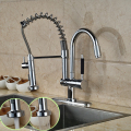 Luxury Hands Free Double Spout Kitchen Sink Faucet One Handle Deck Mounted with Hot and Cold Water Taps Chrome Finished