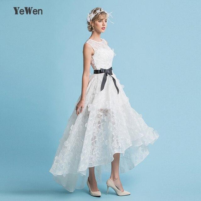 Tank Organza Lace Flowers Short Front Long Back Wedding Dress Beach ...