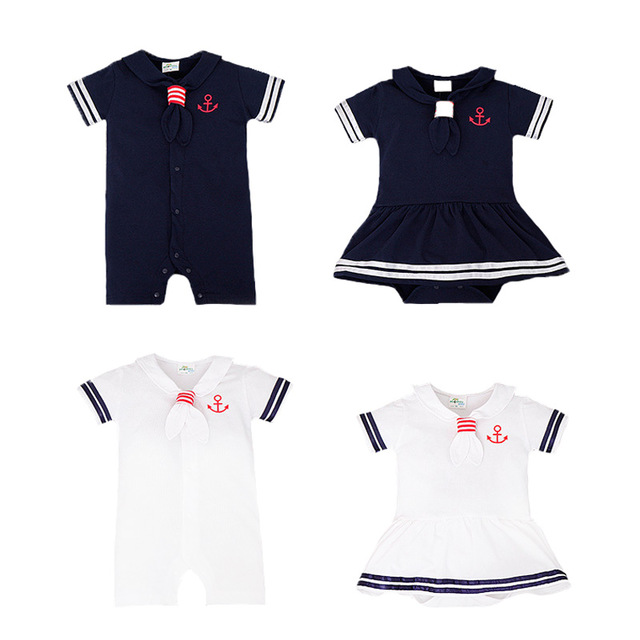 summer Newborn Baby Girls Cothes Navy Style Tie Casual Short sleeve Baby Boy Romeper Toddler kids clothes Sailor Outfit Cothes