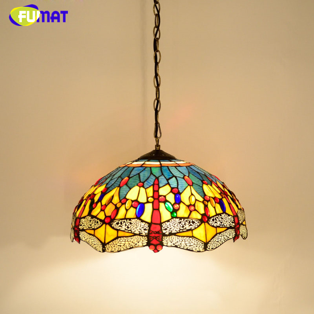 FUMAT Stained Glass Pendant Lamp Creative Art Dragonfly Mutil-color Glass Shade Restaurant Suspension Lamp Hotel Project Lights