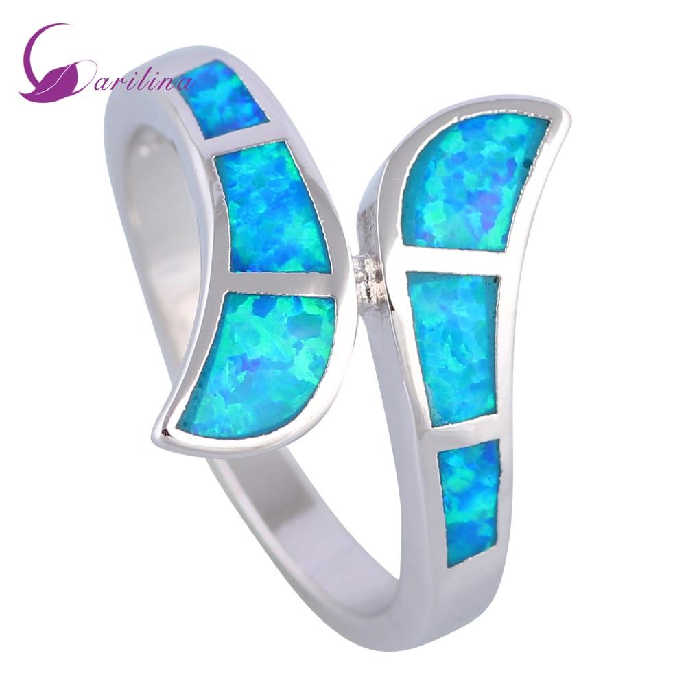 Модни бижута Дамски пръстени Син Опал 925 Сребърен Сребърен пръстен с размер 6 7 7.5 8 9 R535