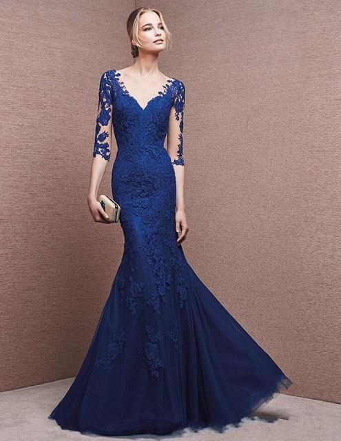 1104ffa30b0 Navy Blue Evening Dresses Long 2017 V Neck 3 4 Sleeves Lace Applique  Mermaid Prom Wedding Party Gowns Vestido Vinho 9291427