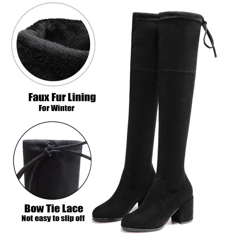 STQ 2019 Kış kadın botları kadın faux süet peluş sıcak çizmeler diz üzerinde çizmeler bayanlar yüksek topuk platformu kar keçe çizmeler 7512