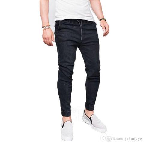 E-BAIHUI New Harem Jeans Men Casual Washed Shinny Denim Jeans Male Fashion Ripped Hip Hop Sportswear Pencil Pants Plus Size 5XL Karachi