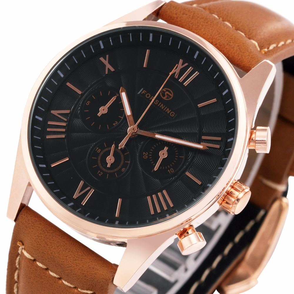 Modern Automatic Men Watches Mechanical Fashion Wrist Watch Three Sub-dials Roman Numerals Brown Leather Band reloj masculino stylish roman numerals scale hand cranking mechanical men s wrist watch black rose gold silver