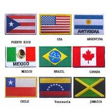 Вышитые Америка заплатки флаг Пуэрто-Рико Мексика Флаг значок тактический армейский крючок и петля вышивка нашивки эмблемы аппликации