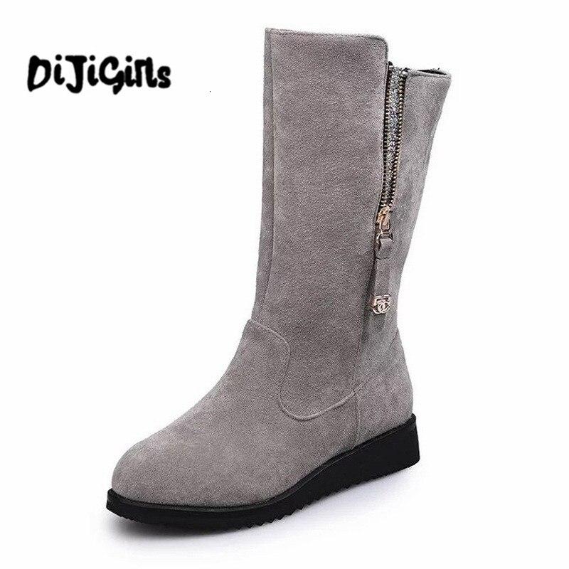 2018 New Women Boots Black Gray Solid Mid-Calf Boots Fashion Platform Winter Boots Zipper Flat Shoes for Women size 35-44 morazora russia women boots big size 35 44 keep warm snow boots platform winter mid calf boots fashion shoes solid white color