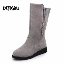 2018 Новые женские ботинки Черный, серый однотонные ботинки до середины икры Модная обувь на платформе зимние сапоги с молнией на плоской подошве Обувь для Для женщин размер 35-44