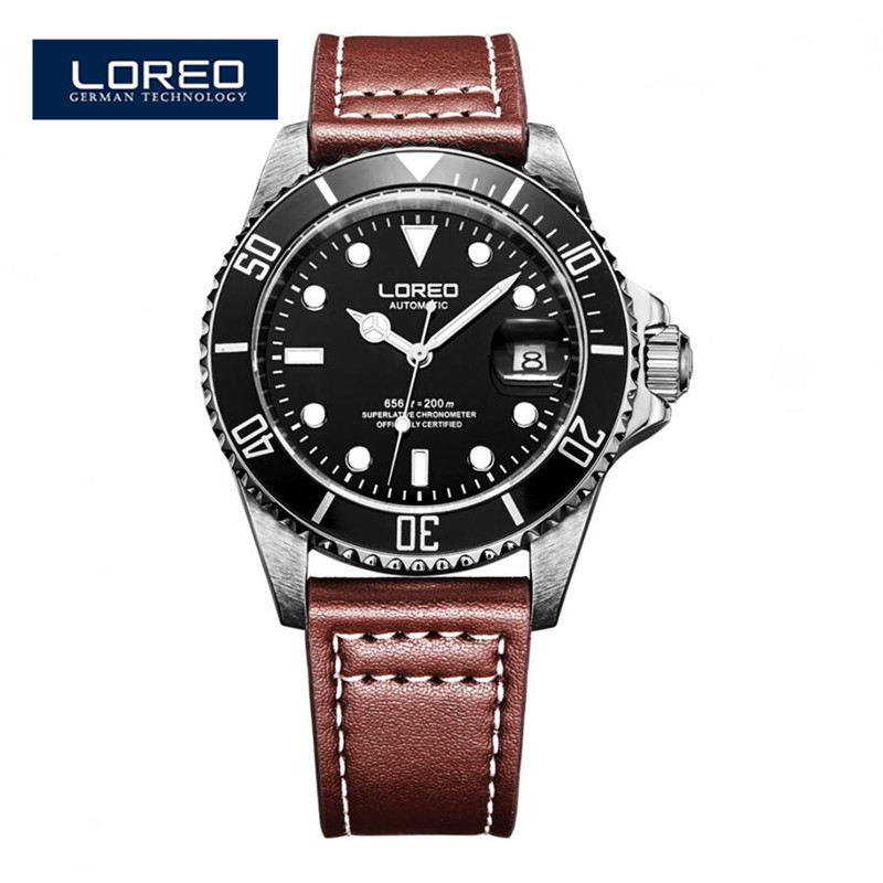 LOREO Automatic Watches Men Luxury Brand Steel Chronograph Watch Hours Reloj Hombre Male Wristwatches Relogio Masculino A22