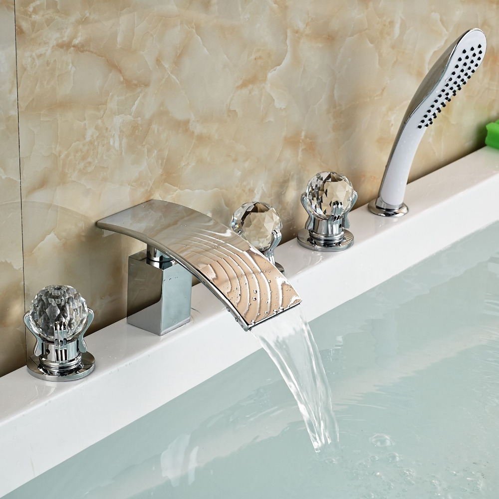 Widespread Three Handles Bathroom Tub Faucet Deck Mount 5pcs Waterfall Bathtub Faucets Taps