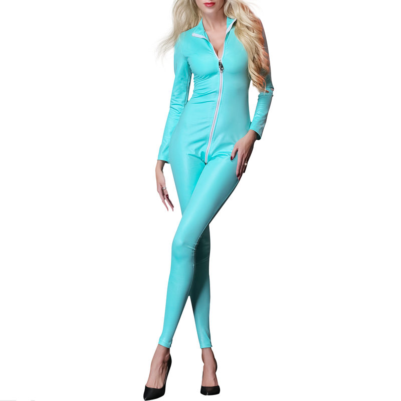 Women Slim Tight Wet Look Bodysuit Sexy Erotic Fetish Rompers One Piece Faux Leather Long Sleeve Leotard Clubwear Fashion