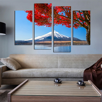 Red Leaves Snowy Mountains Scenery Painting By Numbers DIY Digital Oil Painting On Canvas Home Decor