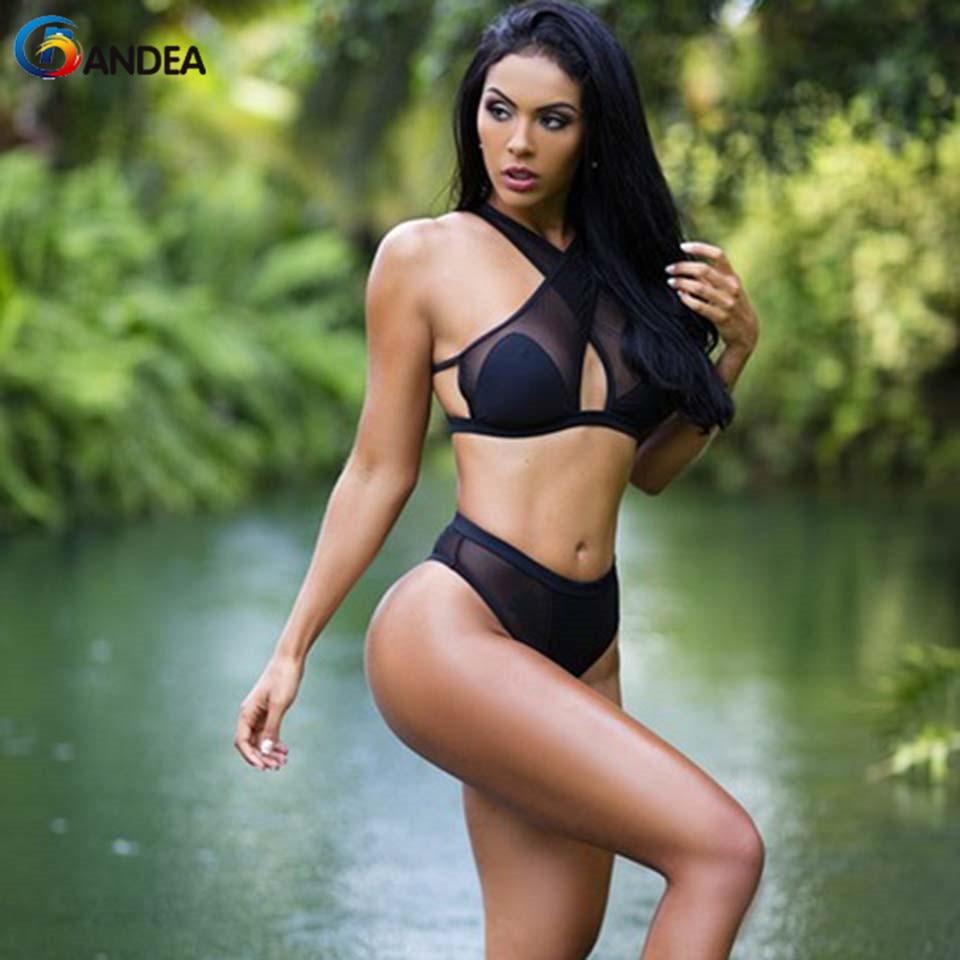 2016 Women Sexy Push Up Swimwear High Neck Bikini Brazilian Bathing Suit Biquinis Swimsuit Halter Top Bikinis Set
