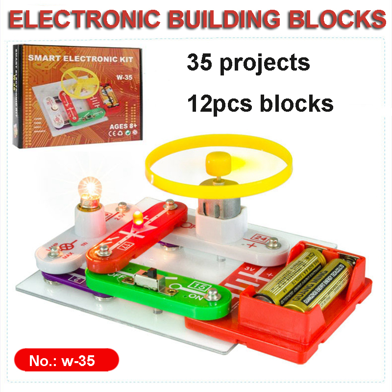 New Technic Kids Electronics Blocks Kit Switch Circuits Electronics Discovery Kit Science Educational Toys For Children W35