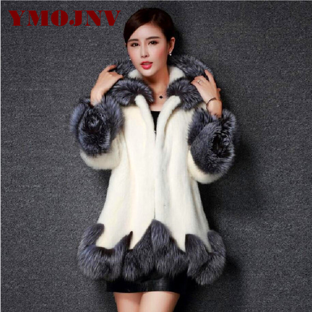 Women Fur Coat 2017 Winter New Design Imitation Fox Fur Coat Mink Europe Luxury Women Long Skirt Styles Faux Fur Coat Women 6XL