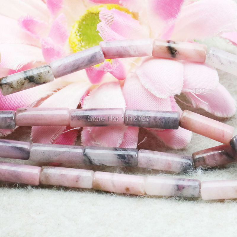 Accessories Parts Red Rhodonite Loose DIY Beads Semi Finished Stones Bamboo Tube Jewelry Making Design 5X14mm 15inch Women Girls