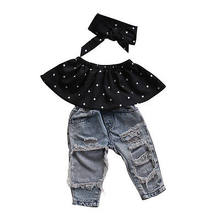 FOCUSNORM 3pcs Suit !! Fashion Toddler Baby Girls Black Blouse Top +Hole Casual Denim Pants +Hairband Outfits Set(China)