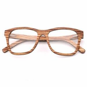 Image 5 - 100% 천연 나무 안경 프레임 남자에 대 한 목조 여성 광학 안경 케이스 56342 와 명확한 렌즈