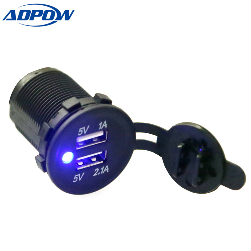 Herorider 12v Dual USB Socket Charger for Motorcycle Auto Truck ATV Boat Car Cigarette Lighter Adapter Outlet Power Car Socket