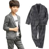 Boys Blazers Suits For Kids Plaid Jackets Pants 2Pcs Cotton Flower Boys Wedding Formal Clothing Sets