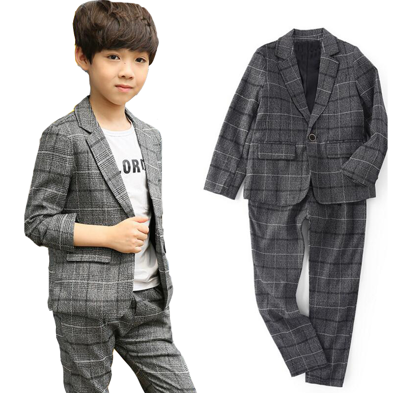Boys Blazers Suits For Kids Plaid Jackets & Pants 2Pcs Cotton Flower Boys Wedding Formal Clothing Sets Outfits 2 4 6 10 12 Years kindstraum 3pcs boys gentleman formal suits cotton long sleeve shirt vest denim pants toddler kids wedding clothing sets mc951