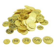все цены на 100 Pcs Plastic Gold Treasure Coin Captain Pirate Coin Baby Kids Props Decoration Toys For Boys онлайн