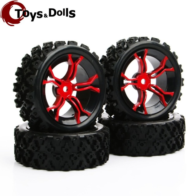 4pcs/set PP0487+MPNKR 1/10 RC Rally Racing Off Road Car Block Tyre &Wheel Set For Rc Model Car Kids Toys Collections Gifts E