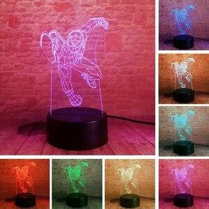 Image 5 - 5 różnych superbohatera człowiek lampa 3d spiderman 7 kolor Led gradientu lampka nocna dzieci Lampara spania kreatywny festiwal prezent