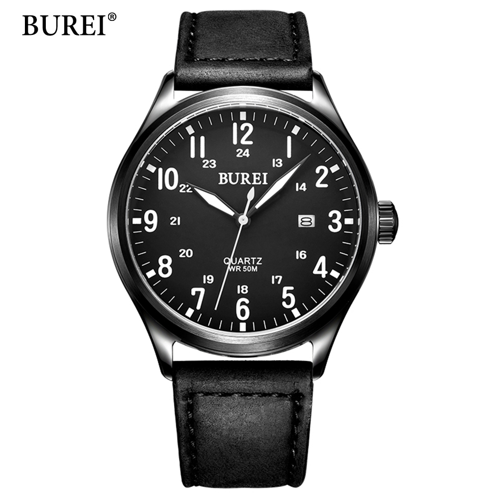 BUREI  New Tough Guy Mens Sports Wrist Watches Genuine Leather Mens Watches Top Brand Luxury Quartz Clock 2017 Quartz-Watch almost famous new black tough love sweater msrp $49 00
