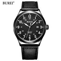 Burei novo tough guy mens sports relógios de pulso de couro genuíno dos homens relógios top marca de luxo relógio de quartzo 2017 relógio de quartzo-relógio