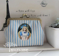 bag with blue stripes handmade DIY materials cats mouth gold bag handle bag purse storage metal frame handbags coin purses