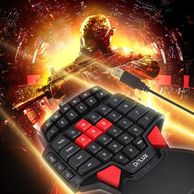 Delux T9 47-Key Professional One/Single Hand USB Wired Esport Gaming Keyboard with 3-level LED Backlit Illuminated Backlight