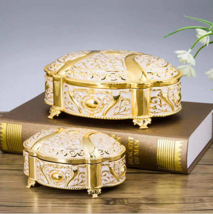 Europe Rectangle wedding jewelry storage box zinc metal Home desktop storage box jewelry box makeup organizer Z070