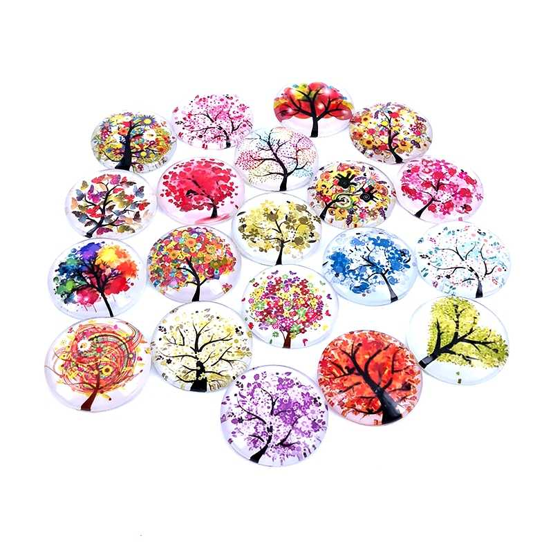 20pcs/lot 18mm 20mm 25mm Round The Tree of Life Pattern Glass Cabochon for DIY Jewelry Making Findings & Components T013