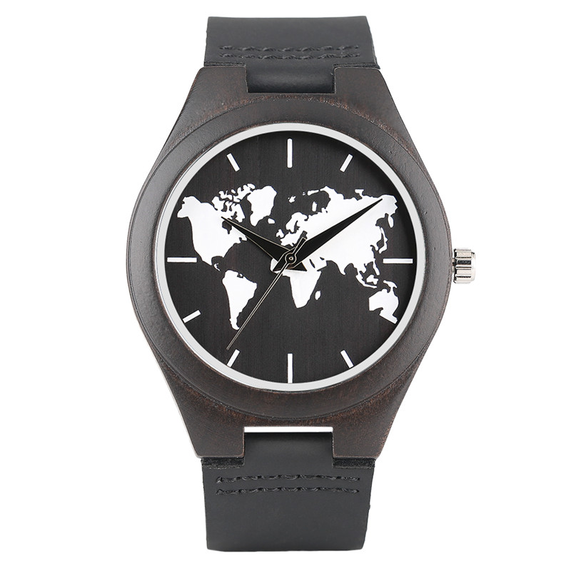 Creative watches mens world map watch men black maps top natural creative watches mens world map watch men black maps top natural wooden bamboo clock with genuine leather band for sports in quartz watches from watches gumiabroncs Gallery