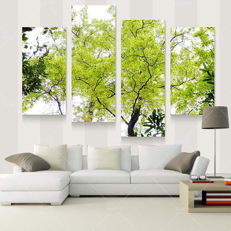 Buy 4 panel modern tree paintings canvas for Fotos de living modernos